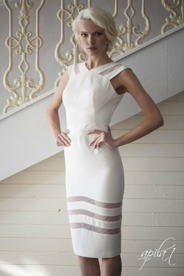 Ivory short crepe wedding dress l4 romantic wedding gown for Ivory short wedding dress