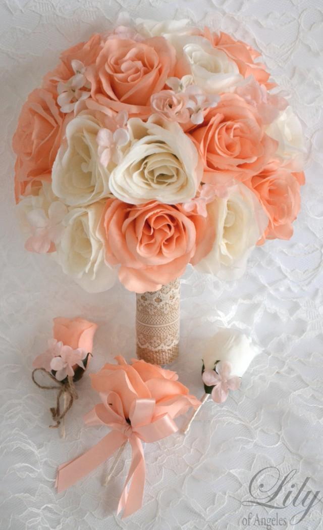 17 piece package silk flowers wedding bouquet artificial bridal bouquets decoration peach ivory. Black Bedroom Furniture Sets. Home Design Ideas