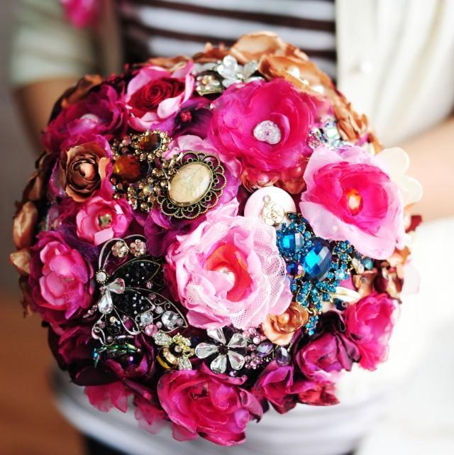 Homemade Wedding Bouquets Silk Flowers : Handmade silk flower bouquet hot pink color wedding