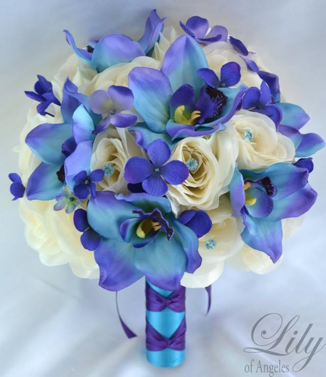 Silk Wedding Bouquets Orchids : Piece package silk flowers wedding bridal bouquets