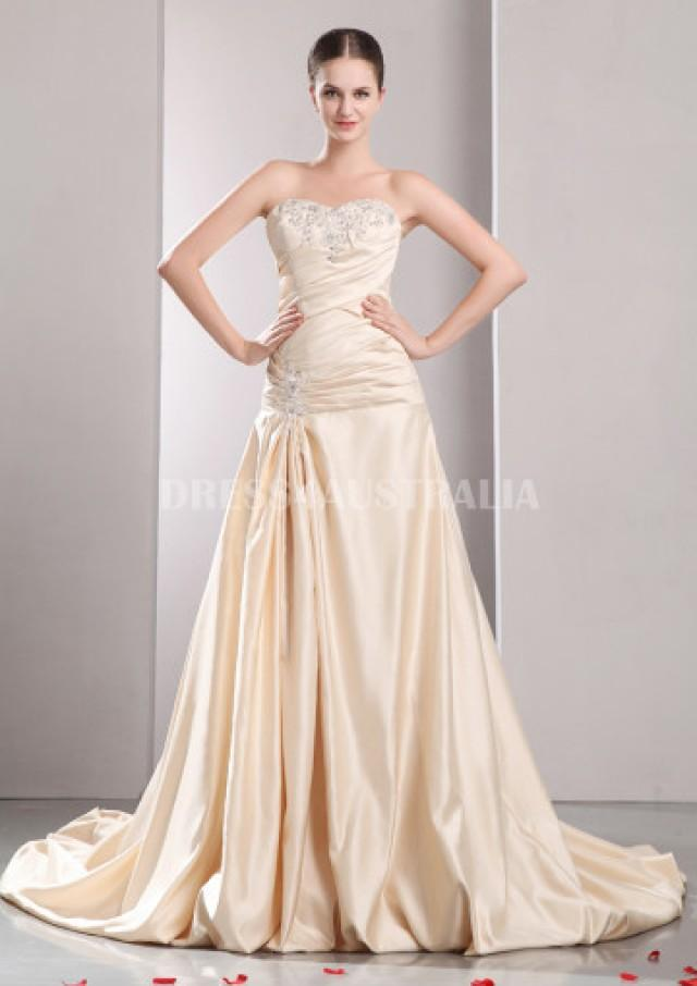 wedding photo - Buy Australia Champagne Embroidery Sweetheart Neckline Puff Chapel Train Taffeta Lace Up A-line Wedding Dresses Gowns at AU$224.41 - Dress4Australia.com.au