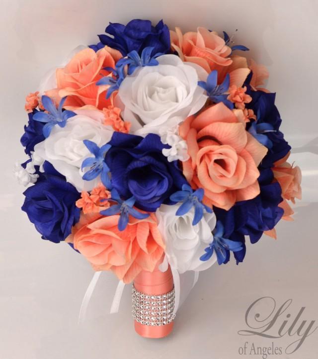 17 Piece Package Wedding Bouquet Bride Silk Flowers Bridal
