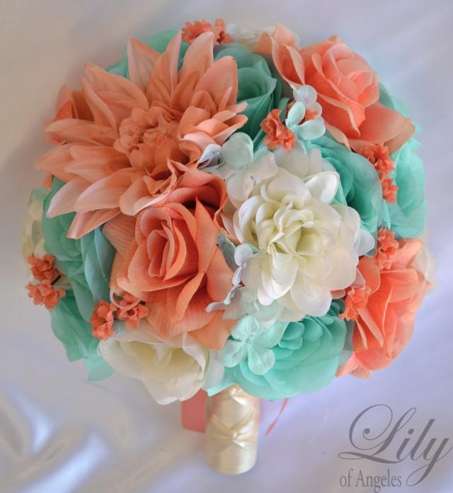 17 Piece Package Wedding Bridal Bouquet Silk Flowers Bouquets Maid