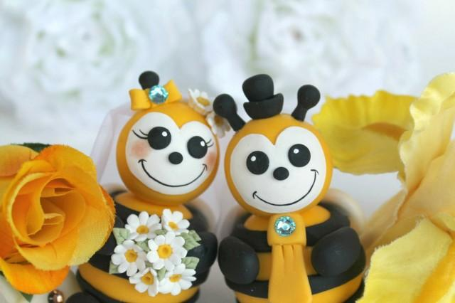 Bee Wedding Cake Topper, Personalized Bee Bride And Groom ...