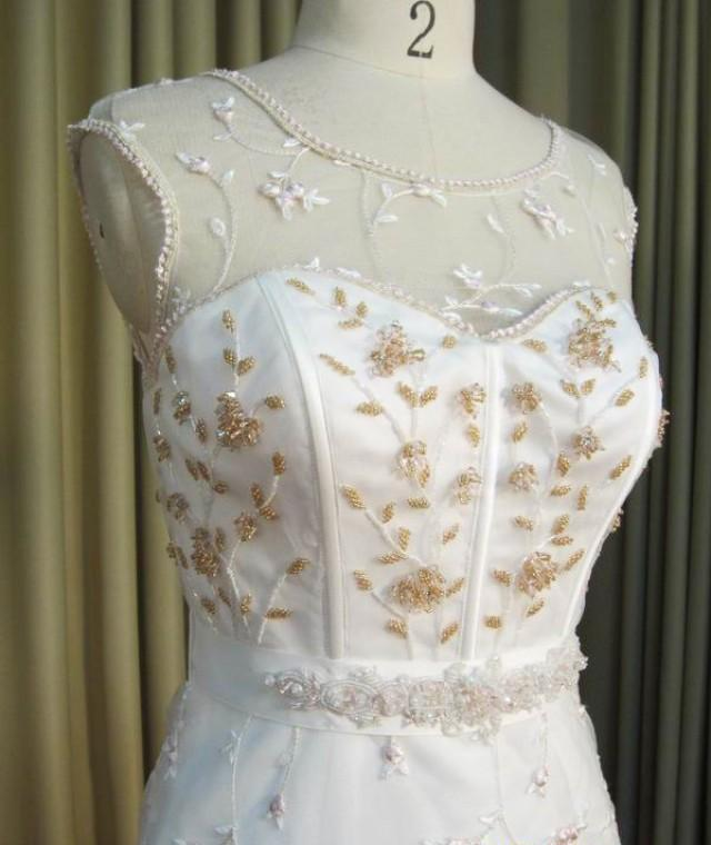 Illusion neckline rose gold embroidered wedding dress