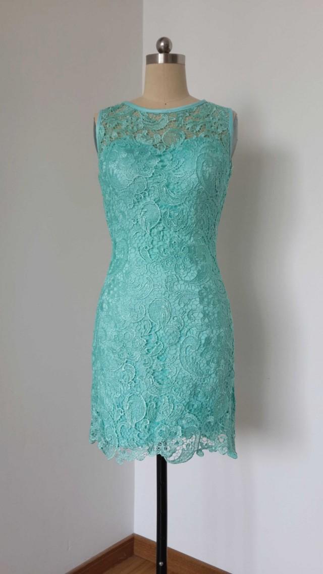 2015 sheath turquoise blue lace short bridesmaid dress for Short lace sheath wedding dress