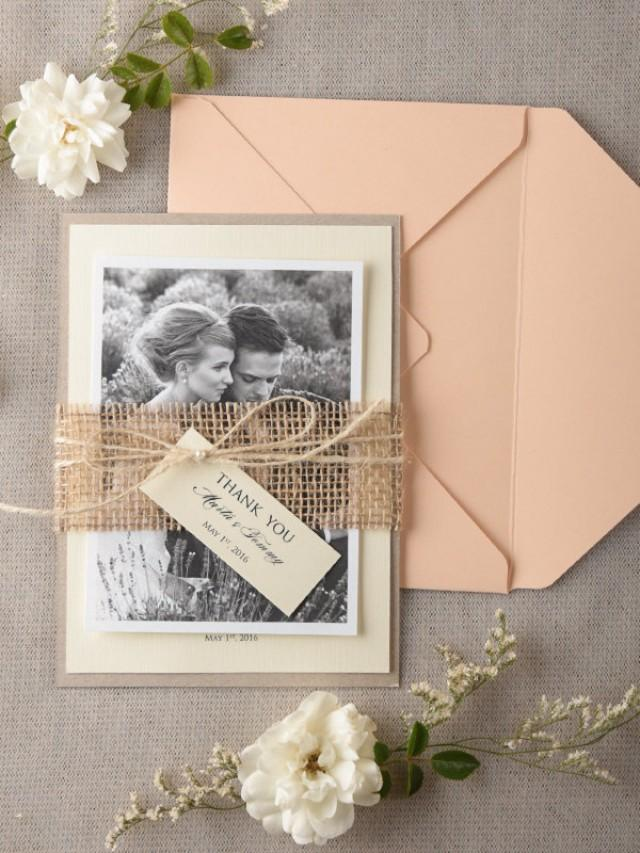 Personalised Wedding Thank You Card Set Of 20 Burlap Wedding – Personalised Wedding Thank You Cards