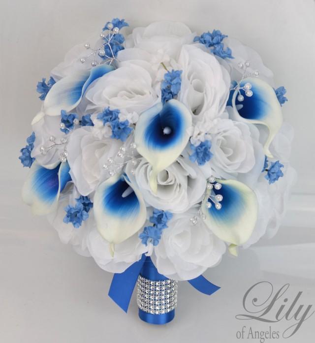 17 Piece Package Silk Flowers Wedding Bouquet Bride Bridal