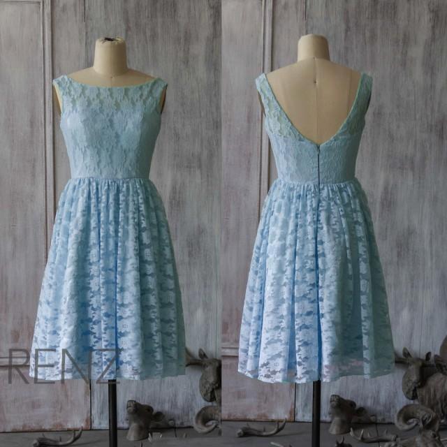 2015 light blue lace bridesmaid dress blue wedding dress for Short light blue wedding dress