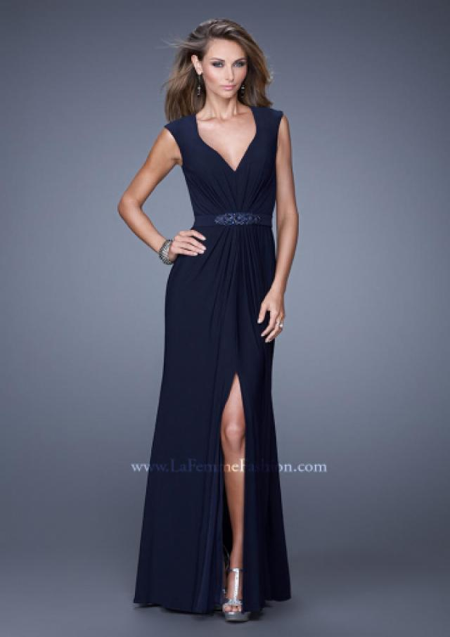 wedding photo - V-neck Chiffon Navy Cap Sleeves Crystal Ruched Split Prom / Homecoming / Evening Dresses By 2015 La Femme 20539