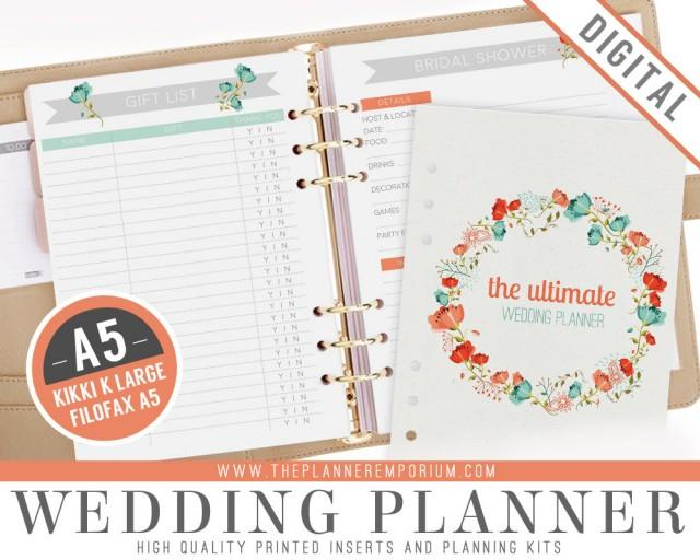 A5 ultimate wedding planner organizer kit instant for Diy wedding binder templates