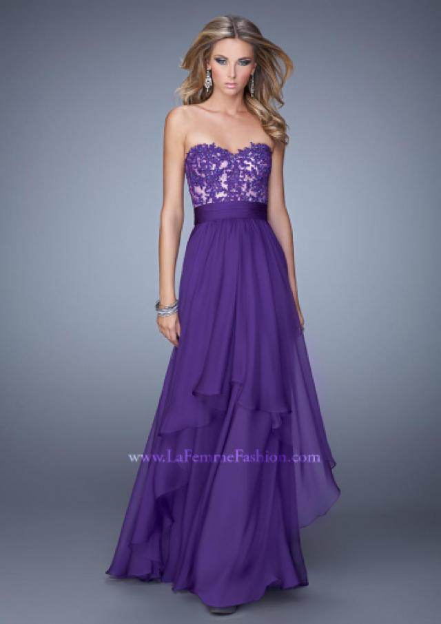 wedding photo - Sweetheart Beaded Applique Chiffon Majestic Purple A-line Prom / Homecoming / Evening Dresses By 2015 La Femme 20557