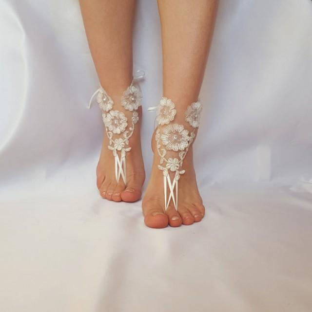 wedding photo - ivory silver frame barefoot beach wedding country wedding french lace sandals wedding shoe embroidered barefeet sandals Steampunk beach pool