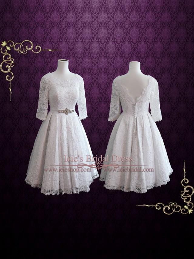Vintage style lolita tea length pleated lace wedding dress for Vintage t length wedding dresses