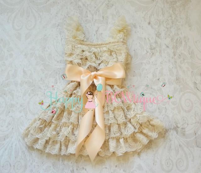 wedding photo - Flower girl dress- Blush Champagne Bow Lace Dress,baby Flower Girl dress,Rustic dress,baby dress,flower girl lace dress,baptism, Girls Dress