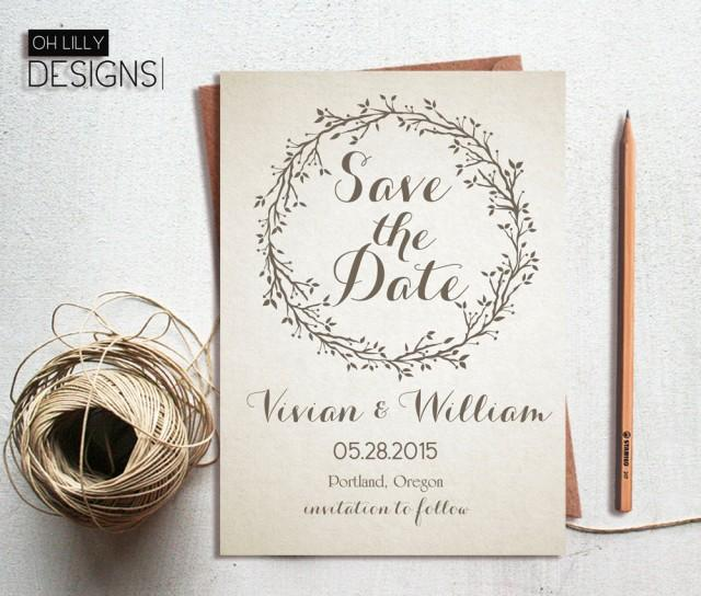 Matching Save The Date And Wedding Invitations: Rustic Save The Date Invitation Printable, Save Te Date