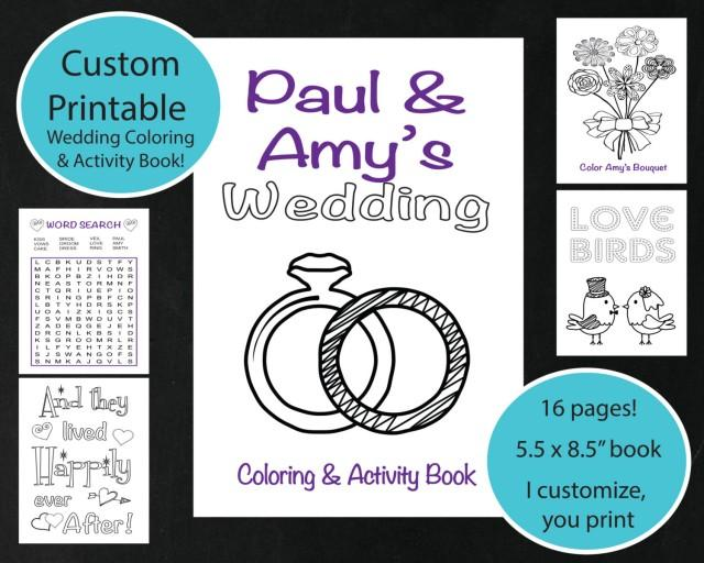CUSTOM Printable Wedding Coloring Amp Activity Book Personalized Wedding Coloring Sheet