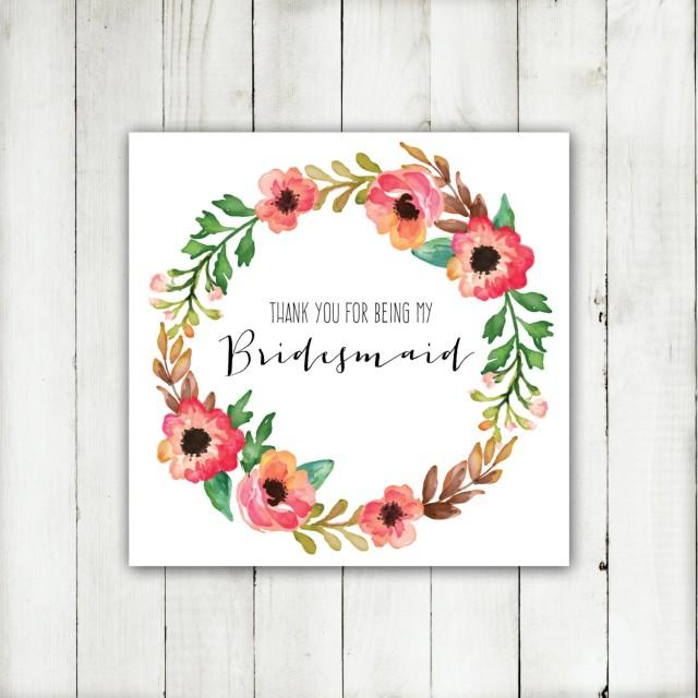 Wedding Printable Thank You For Being My Bridesmaid