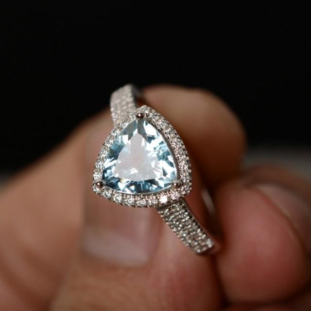 Ring Silver Luxury Ring March Birthstone Engagement Ring Promise Ring