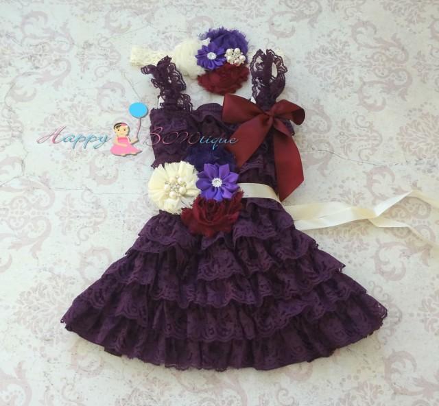 wedding photo - Ivory Dark Purple Plum lace dress set, Flower girls dress,Ivory  Dress,baby dress,Birthday outfit,girls dress,purple dress,baby girls dress