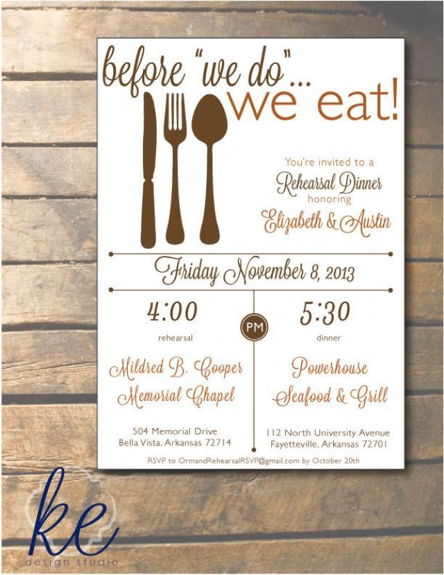 Before We Do, We Eat Rehearsal Dinner Invitation 5x7 - 24 ...