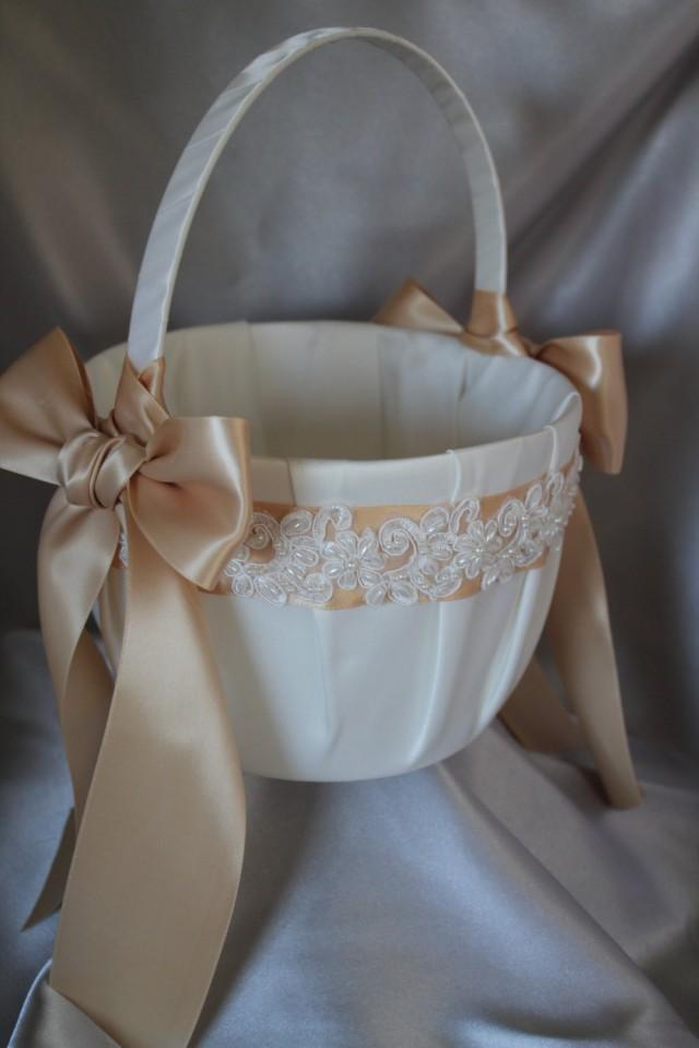 Flower Girl Basket For 8 Year Old : Large ivory or white flower girl basket champagne ribbons