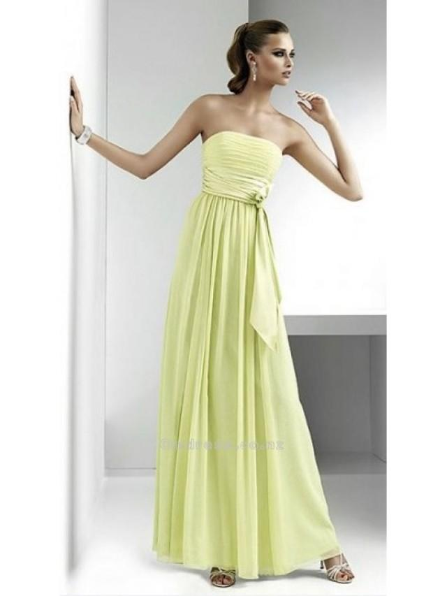 wedding photo - A line Strapless Chiffon Floor Length Bridesmaid DressesSKU: BM000122