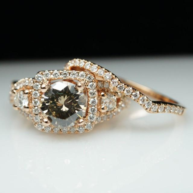 18k rose gold champagne diamond engagement ring amp wedding