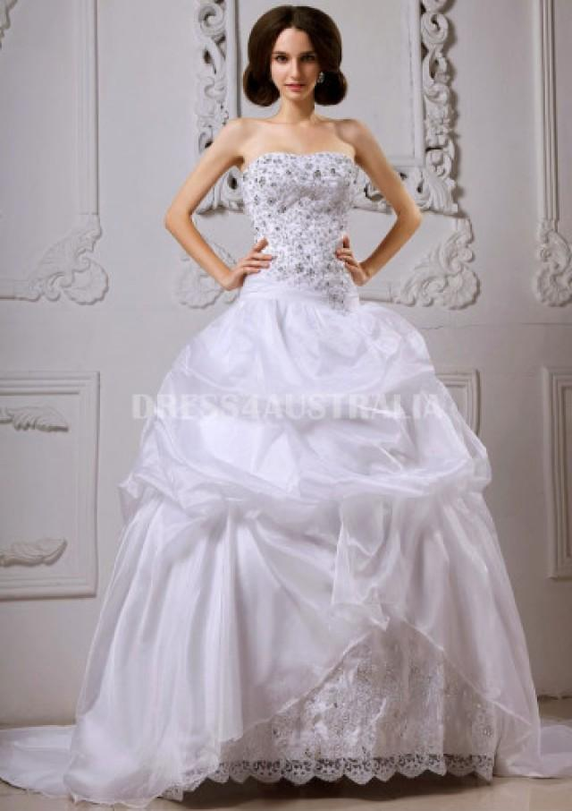 wedding photo - Buy Australia Applique Over All Top Bodice Pick-up Corset Back Ball Gown Wedding Dresses Gowns 7887002 at AU$246.85 - Dress4Australia.com.au
