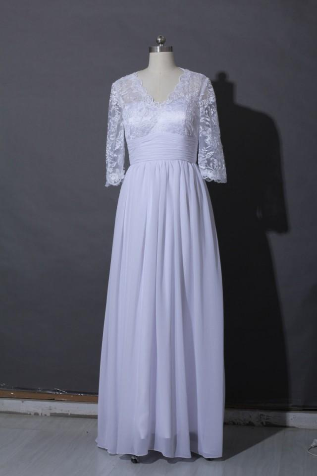 Lace wedding dress long sleeves lace floor length wedding for V neck long sleeve wedding dress