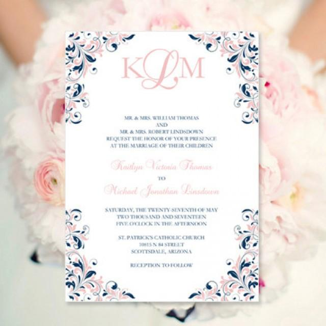 Blush Pink Amp Navy Wedding Invitation Kaitlyn Printable