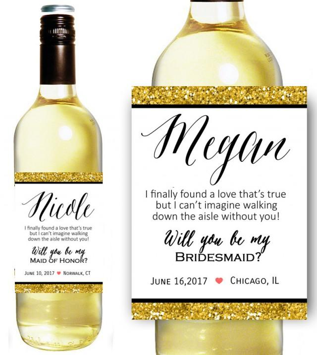 Free will you be my bridesmaid wine label just b cause for Will you be my bridesmaid wine label template