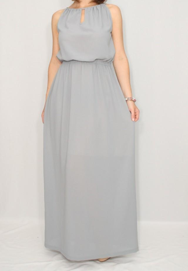 Light grey bridesmaid dress chiffon dress prom dress for Light grey wedding dress