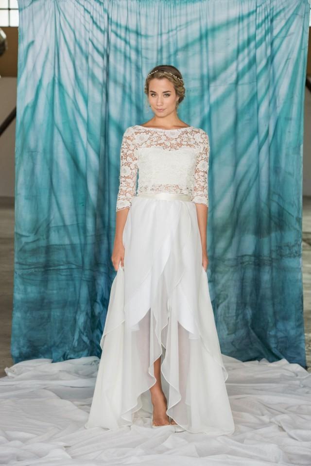 Long chiffon wrap skirt chiffon skirt simple wedding for Short flowing wedding dresses