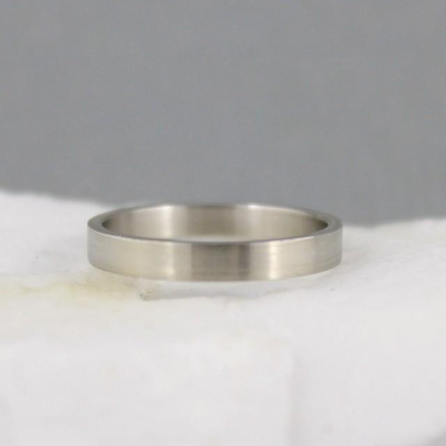 3mm 14K White Gold Wedding Band - Unisex