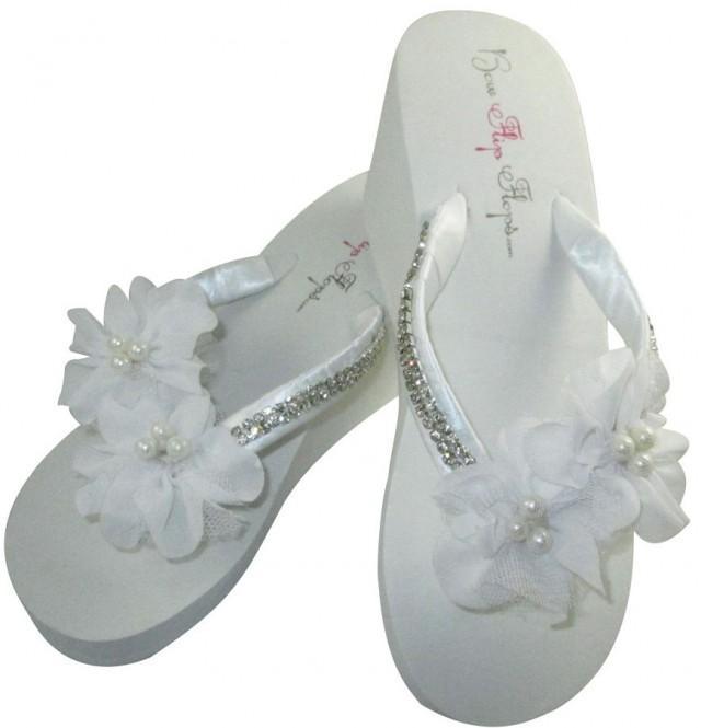 Bridal Wedge Flip Flops Diamond Bling Wedding Flip Flop Sandals For Bride Bridesmaid Bridal