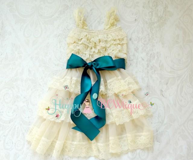 wedding photo - Flower Girl Dress, Champagne Teal Bow Chiffon lace dress, Rustic dress,Country dress,Baby Girls Dress,Ivory dress,1st Birthday dress,Toddler
