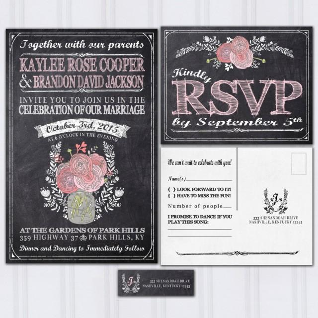 chalkboard wedding invitations rustic mason jar boho wedding invitation blush pink wedding