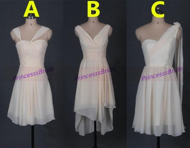 Short light champagne chiffon bridesmaid dresses three for Short cheap wedding dresses under 100