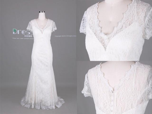 Elegant White V Neck Short Sleeves Lace Mermaid Wedding