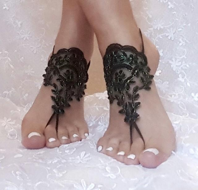 wedding photo - Neon green Black lace barefoot sandal french lace bridal barefoot lace wedding fingerless black burlesque cabaret belly dance shoe