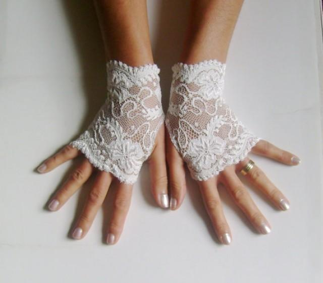 wedding photo - Ivory french lace gloves bridal gloves ivory lace gloves fingerless gloves free ship