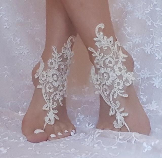 wedding photo - crystalline shining ivory lace barefoot, anklet, ivory Beach wedding barefoot sandals, bangle, wedding anklet, free ship, anklet, bridal,