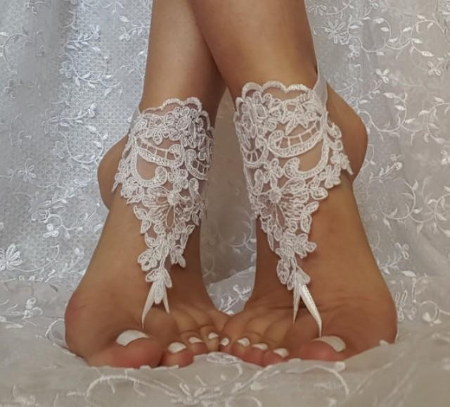 wedding photo - Free ship white flower wedding barefoot sandals wedding shoe prom party steampunk bangle beach anklets bangles bridal bride