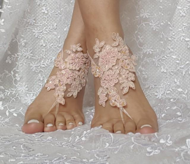 wedding photo - Blush beaded lace barefoot sandal wedding shoe