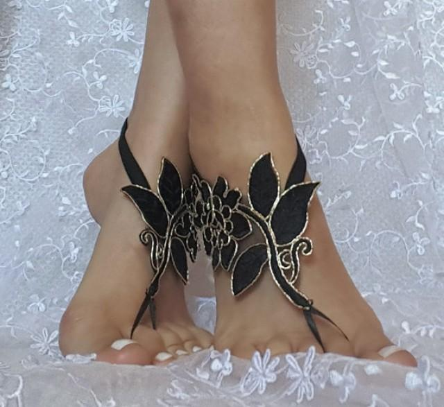 wedding photo - Black gold beach shoes, Unique design, lariat sandals, wedding bridal, bellydance, gothic, wedding shoes, summer wear, gothic bridal sandals
