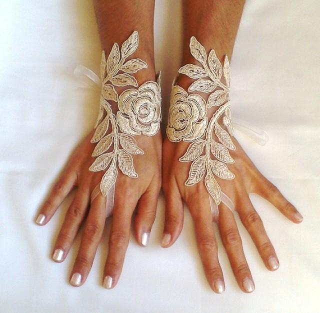 wedding photo - cappuccino Wedding gloves free ship happiness rose bridal gloves fingerless lace gloves cappuccino gloves french lace gloves free ship