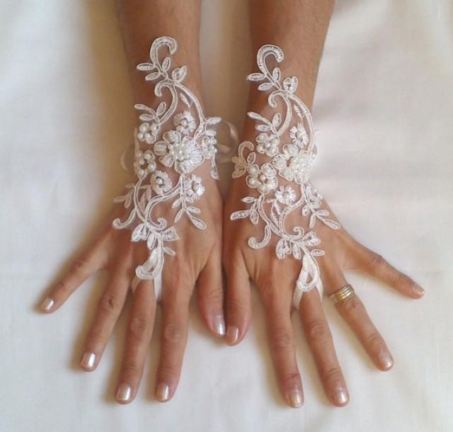 wedding photo - Free ship Wedding gloves beaded pearls Ivory bridal gloves lace gloves fingerless gloves french lace gloves free ship