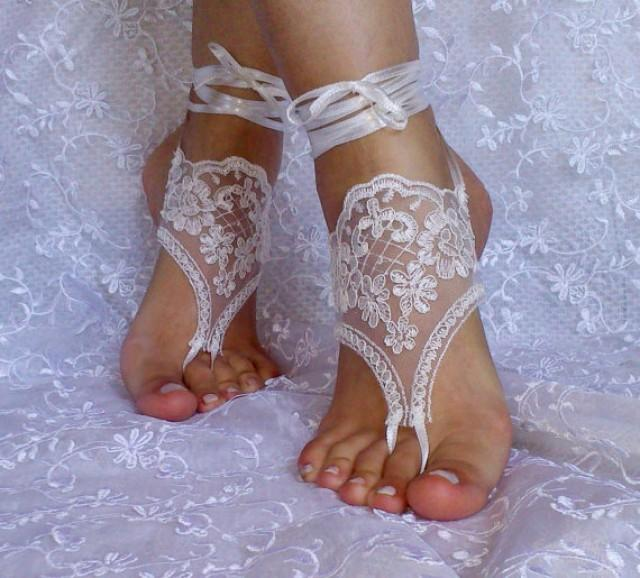 wedding photo - Free ship lace barefoot sandals, bangle, wedding anklet, anklet, bridal, wedding