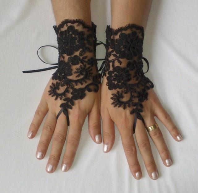 wedding photo - Black or ivory Wedding Gloves, Wedding, Bridal Gloves, Fingerless Gloves, Ivory, Wedding accessories